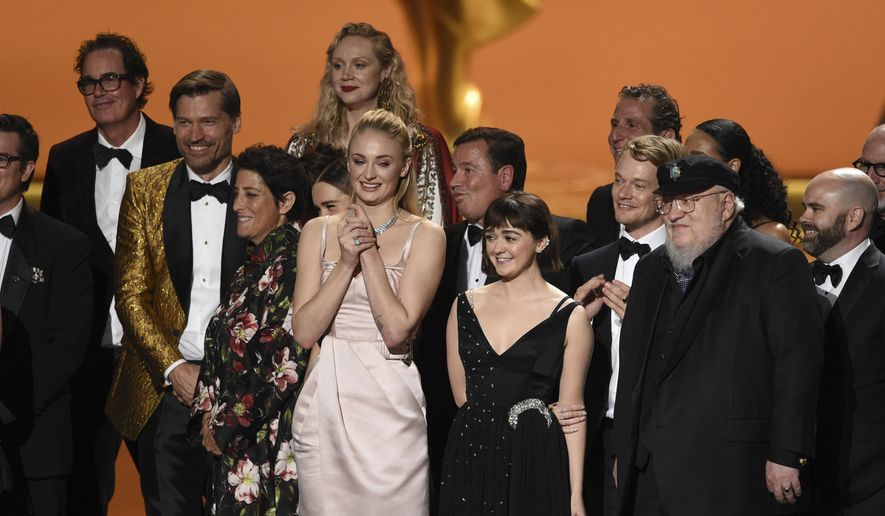 "The cast and crew of ""Game Of Thrones"" accepts the award for outstanding drama series at the 71st Primetime Emmy Awards on Sunday, Sept. 22, 2019, at the Microsoft Theater in Los Angeles. (Photo by Chris Pizzello/Invision/AP)"