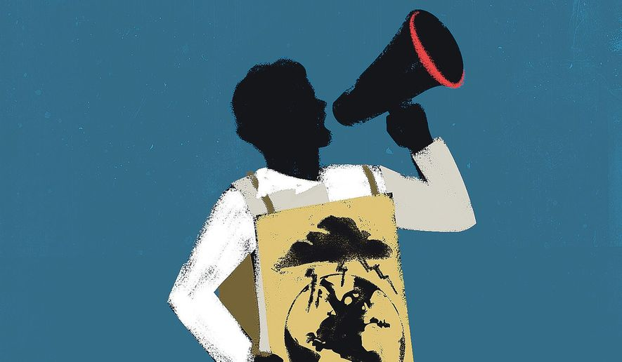 Illustration on the false prophets of climate change by Linas Garsys/The WAshington Times