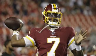 Washington Redskins quarterback Dwayne Haskins throws before an NFL football game against the Chicago Bears, Monday, Sept. 23, 2019, in Landover, Md. (AP Photo/Julio Cortez)