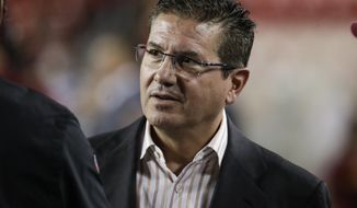 Washington Redskins owner Dan Snyder stands on the field before an NFL football game against the Chicago Bears, Monday, Sept. 23, 2019, in Landover, Md. (AP Photo/Julio Cortez) ** FILE **