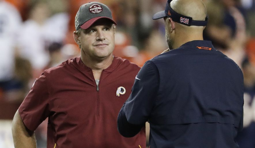 Washington Redskins head coach Jay Gruden left, talks with Chicago Bears head coach Matt Nagy on the field before an NFL football game, Monday, Sept. 23, 2019, in Landover, Md. (AP Photo/Julio Cortez) ** FILE **