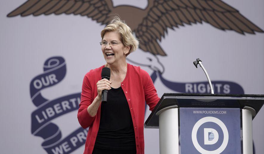 Democratic presidential candidate Sen. Elizabeth Warren, D-Mass. speaks at the Polk County Democrats Steak Fry, in Des Moines, Iowa, Saturday, Sept. 21, 2019. (AP Photo/Nati Harnik)