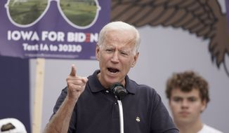 Democratic presidential candidate and former Vice President Joe Biden speaks at the Polk County Democrats Steak Fry, in Des Moines, Iowa, Saturday, Sept. 21, 2019. (AP Photo/Nati Harnik)