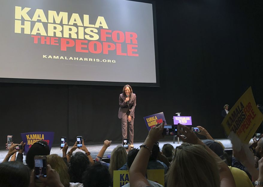 Democratic presidential candidate Kamala Harris reacts to supporters at a rally in Los Angeles on Monday, Sept. 23, 2019. (AP Photo/Michael R. Blood)