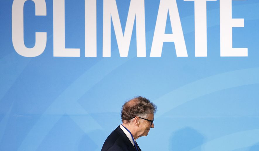 Philanthropist Bill Gates takes the stage before addressing the Climate Action Summit in the United Nations General Assembly, at U.N. headquarters, Monday, Sept. 23, 2019. (AP Photo/Jason DeCrow)