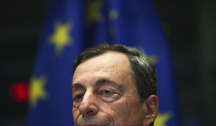 European Central Bank President Mario Draghi addresses European Parliament members at the European Parliament in Brussels, Monday, Sept. 23, 2019. (AP Photo/Francisco Seco)