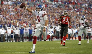 New York Giants quarterback Daniel Jones (8) scores on a 7-yard touchdown run against the Tampa Bay Buccaneers during the second half of an NFL football game Sunday, Sept. 22, 2019, in Tampa, Fla. (AP Photo/Mark LoMoglio)