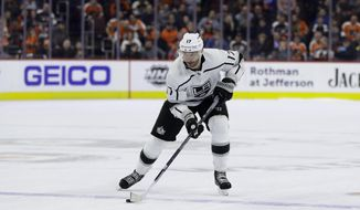 FILE - In this Feb. 7, 2019, file photo, Los Angeles Kings' Ilya Kovalchuk is shown in action during an NHL hockey game against the Philadelphia Flyers, in Philadelphia. The Los Angeles Kings have a new coach with Todd McLellan, but made no significant roster additions during the offseason to a team that scored the fewest points in the Western Conference and have an aging roster with five players age 32 or older. (AP Photo/Matt Slocum, File)