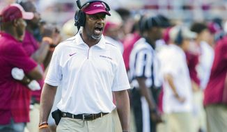 Florida State head coach Willie Taggart shouts instructions in the second half of an NCAA college football game against Louisville in Tallahassee, Fla., Saturday, Sept. 21, 2019. Florida State defeated Louisville 35-24.  (AP Photo/Mark Wallheiser)