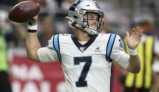 Carolina Panthers quarterback Kyle Allen (7) throws against the Arizona Cardinals during the first half of an NFL football game, Sunday, Sept. 22, 2019, in Glendale, Ariz. (AP Photo/Ross D. Franklin)