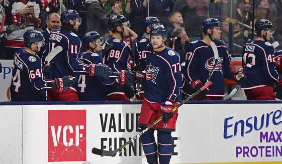 Columbus Blue Jackets' Josh Anderson celebrates his goal against the Pittsburgh Penguins during the third period of a preseason NHL hockey game, Saturday, Sept. 21, 2019, in Columbus, Ohio. The Blue Jackets won 3-1. (AP Photo/David Dermer)