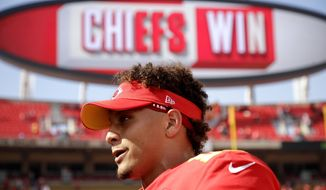 Kansas City Chiefs quarterback Patrick Mahomes walks off the field after an NFL football game against the Baltimore Ravens Sunday, Sept. 22, 2019, in Kansas City, Mo. (AP Photo/Charlie Riedel)