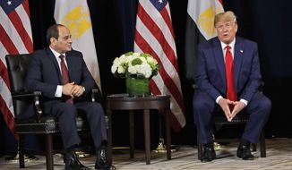 President Donald Trump meets with Egyptian President Abdel-Fattah el-Sisi at the InterContinental Barclay hotel during the United Nations General Assembly, Monday, Sept. 23, 2019, in New York. (AP Photo/Evan Vucci)