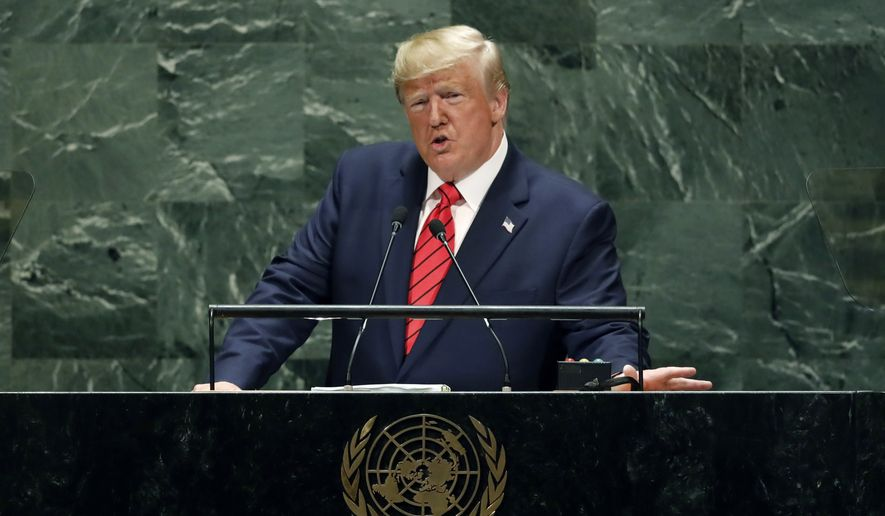 U.S. President Donald Trump addresses the 74th session of the United Nations General Assembly, Tuesday, Sept. 24, 2019. (AP Photo/Richard Drew)