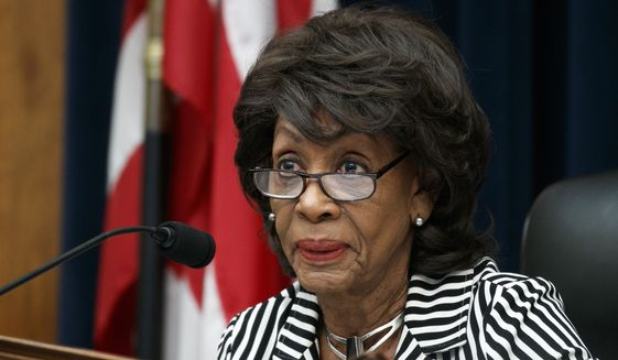 House Financial Services Committee Chair Rep. Maxine Waters, D-Calif., asks a question of Securities and Exchange Commission (SEC) Chairman Jay Clayton, during a committee hearing, Tuesday Sept. 24, 2019, on Capitol Hill in Washington. (AP Photo/Jacquelyn Martin)  ** FILE **