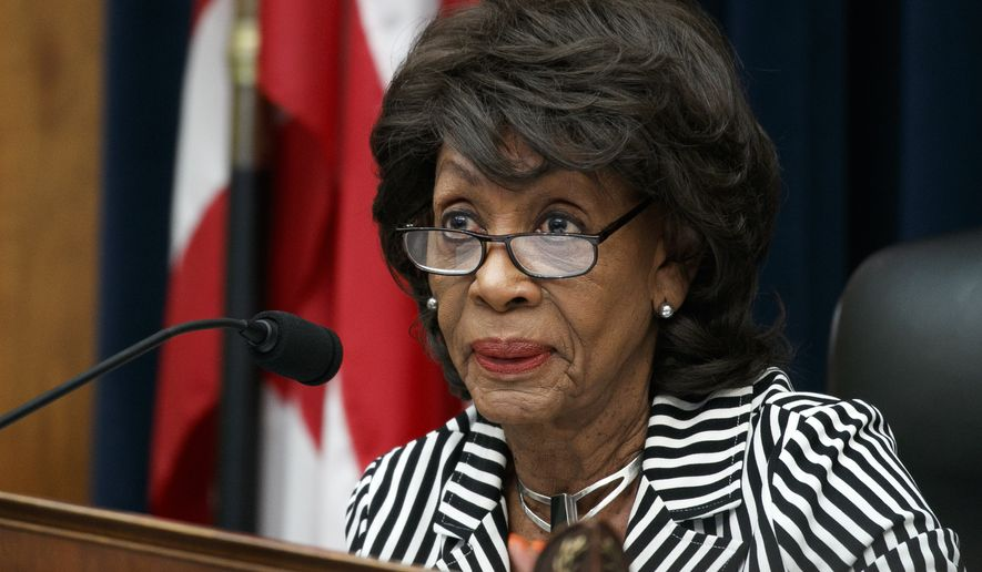 House Financial Services Committee Chair Rep. Maxine Waters, D-Calif., asks a question of Securities and Exchange Commission (SEC) Chairman Jay Clayton, during a committee hearing, Tuesday Sept. 24, 2019, on Capitol Hill in Washington. (AP Photo/Jacquelyn Martin)