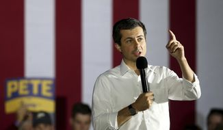 Democratic presidential candidate Pete Buttigieg speaks during a campaign stop at the Alliant Energy Amphitheater in Dubuque on Monday, Sept. 23, 2019. (Eileen Meslar/Telegraph Herald via AP)