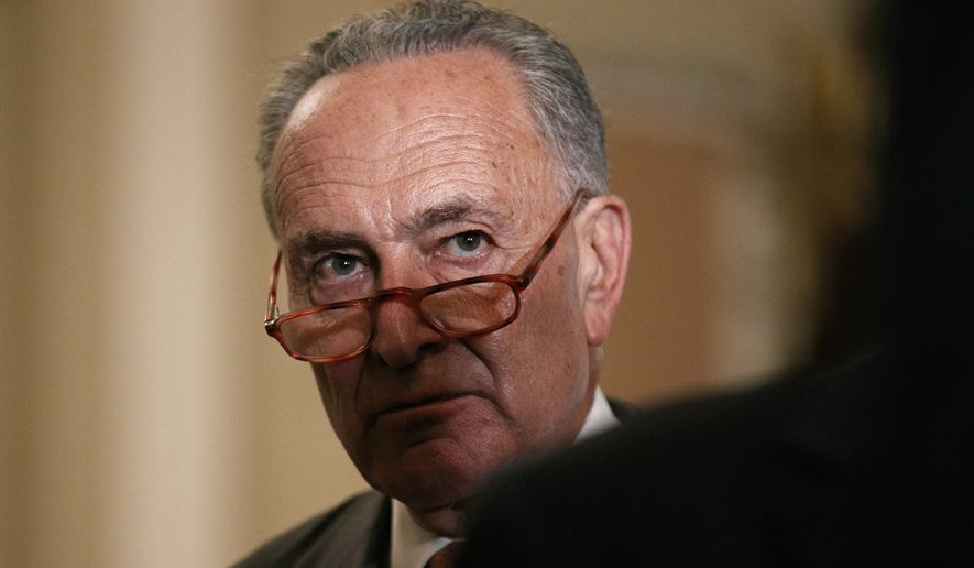 Senate Minority Leader Sen. Chuck Schumer of N.Y. attends a news conference of the Senate Democratic Leadership, Tuesday Sept. 24, 2019, after their policy luncheon on Capitol Hill in Washington. (AP Photo/Jacquelyn Martin)