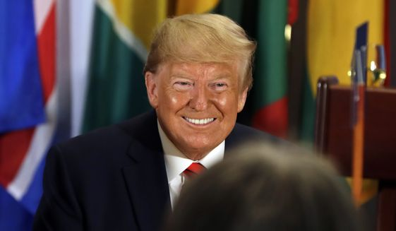 President Donald Trump participates in a luncheon hosted by United Nations Secretary General Antonio Guterres at the United Nations General Assembly, Tuesday, Sept. 24, 2019, in New York. (AP Photo/Evan Vucci)