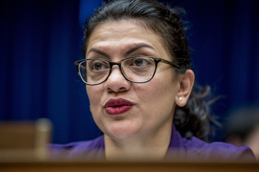 Rep. Rashida Tlaib, D-Mich., questions CDC Principal Deputy Secretary Dr. Anne Schuchat as she speaks before a House Oversight subcommittee hearing on lung disease and e-cigarettes on Capitol Hill in Washington, Tuesday, Sept. 24, 2019. (AP Photo/Andrew Harnik) ** FILE **