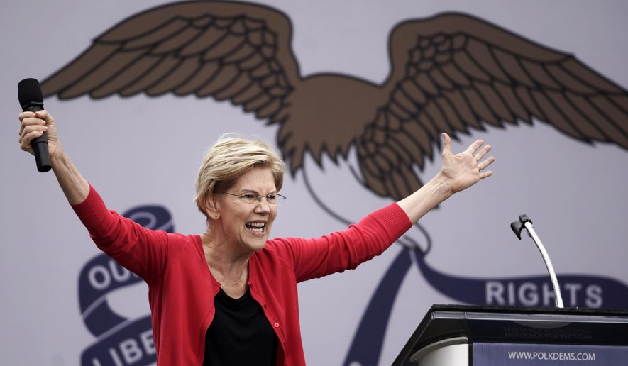 Democratic presidential candidate Sen. Elizabeth Warren, D-Mass. speaks at the Polk County Democrats Steak Fry, in Des Moines, Iowa, Saturday, Sept. 21, 2019. (AP Photo/Nati Harnik)
