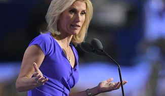In this July 20, 2016, file photo, conservative political commentator Laura Ingraham speaks during the third day of the Republican National Convention in Cleveland. (AP Photo/Mark J. Terrill, File)