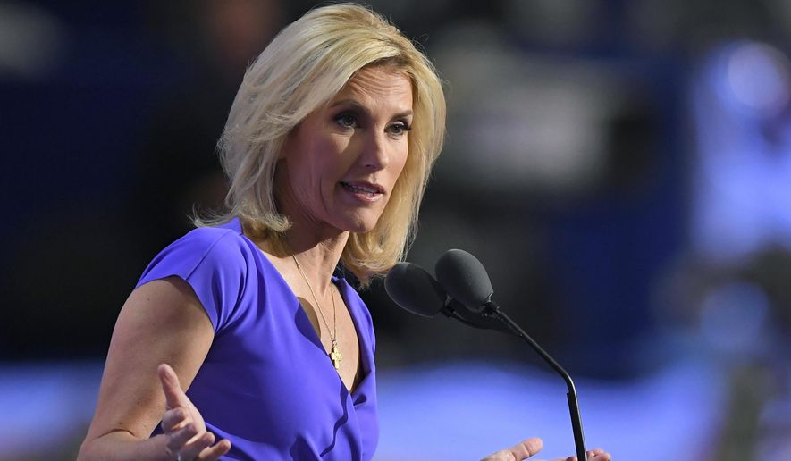 In this July 20, 2016, photo, conservative political commentator Laura Ingraham speaks during the third day of the Republican National Convention in Cleveland. (AP Photo/Mark J. Terrill) **FILE**