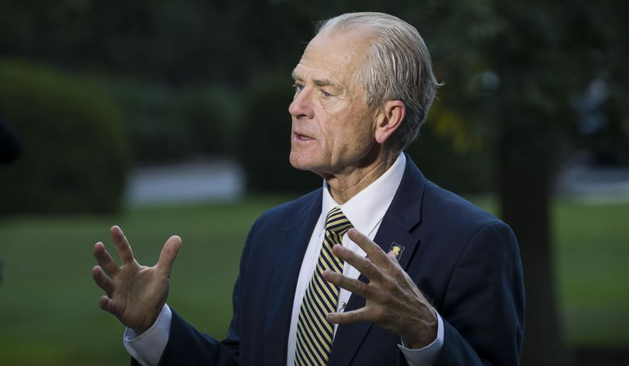 In this file photo dated Wednesday, Sept. 11, 2019, U.S. White House trade adviser Peter Navarro speaks during a television interview at the White House, in Washington, U.S.A.  The U.S. is threatening to pull the United States out of the 145-year-old Universal Postal Union, as Navarro said they oppose options being considered that would maintain the current limits. (AP Photo/Alex Brandon) **FILE**