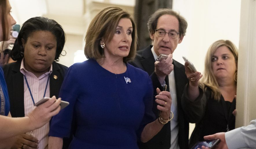 Speaker of the House Nancy Pelosi, D-Calif., departs the Capitol en route to a speaking event in Washington, Tuesday, Sept. 24, 2019. Pelosi will meet with her caucus later as more House Democrats are urging an impeachment inquiry amid reports that President Donald Trump pressured Ukraine to investigate former Vice President Joe Biden and his family. (AP Photo/J. Scott Applewhite)