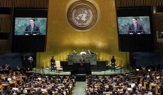 Brazil's President Jair Bolsonaro addresses the 74th session of the United Nations General Assembly, Tuesday, Sept. 24, 2019. (AP Photo/Richard Drew)