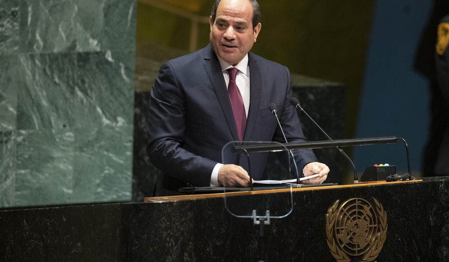 Egyptian President Abdel Fattah el-Sisi addresses the 74th session of the United Nations General Assembly at U.N. headquarters Tuesday, Sept. 24, 2019. (AP Photo/Mary Altaffer)