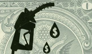 Illustration on gasoline taxes and infrastructure by Linas Garsys/The Washington Times