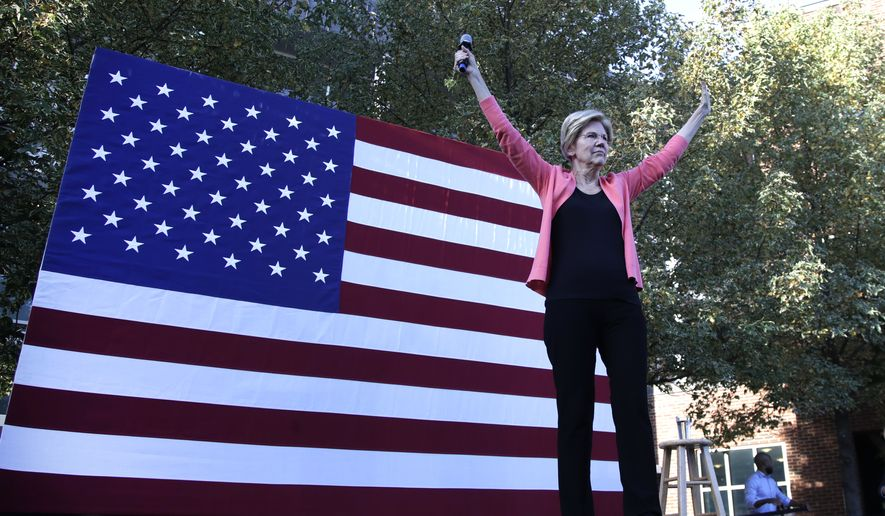 Democratic presidential candidate Sen. Elizabeth Warren, D-Mass., takes the stage at a campaign event, Wednesday, Sept. 25, 2019, in Keene, N.H. (AP Photo/Elise Amendola)