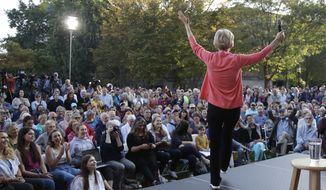 Democratic presidential candidate Sen. Elizabeth Warren, D-Mass., gestures during a campaign event, Wednesday, Sept. 25, 2019, in Keene, N.H. (AP Photo/Elise Amendola)