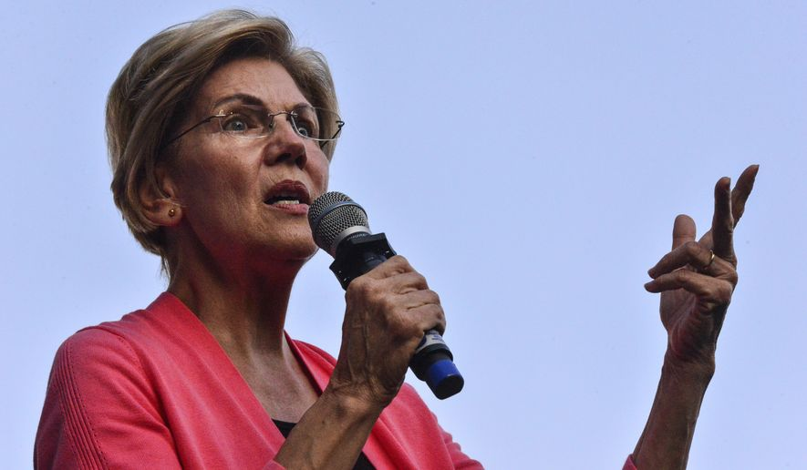 Democratic presidential candidate Sen. Elizabeth Warren, D-Mass., talks about her plans if she becomes president during a rally at Keene State College, in Keene, N.H., on Wednesday, Sept. 25, 2019. (Kristopher Radder/The Brattleboro Reformer via AP)
