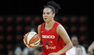 Washington Mystics' Kristi Toliver drives up the court against the Las Vegas Aces during the second half of Game 3 of a WNBA playoff basketball series Sunday, Sept. 22, 2019, in Las Vegas. (AP Photo/John Locher) ** FILE **