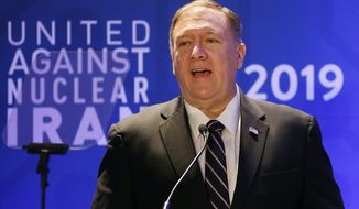U.S. Secretary of State Mike Pompeo delivers remarks during the United Against Nuclear Iran summit, Wednesday, Sept. 25, 2019, in New York. (AP Photo/Jason DeCrow)