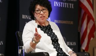 Supreme Court Justice Sonia Sotomayor speaks during a panel discussion celebrating Sandra Day O'Connor, the first woman to be a Supreme Court Justice, Wednesday Sept. 25, 2019, at the Library of Congress in Washington. (AP Photo/Jacquelyn Martin)