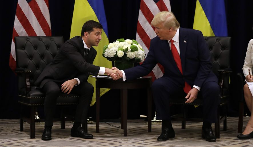 President Donald Trump meets with Ukrainian President Volodymyr Zelensky at the InterContinental Barclay New York hotel during the United Nations General Assembly, Wednesday, Sept. 25, 2019, in New York. (AP Photo/Evan Vucci)