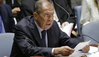 Russian Foreign Minister Sergey Lavrov speaks during a Security Council meeting at U.N. headquarters Wednesday, Sept. 25, 2019. (AP Photo/Seth Wenig)