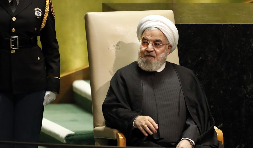 Iran's President Hassan Rouhani after his address to the 74th session of the United Nations General Assembly, Wednesday, Sept. 25, 2019. (AP Photo/Richard Drew)
