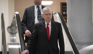 Senate Majority Leader Mitch McConnell, R-Ky., and other senators walk to a closed-door security briefing on Iran, at the Capitol in Washington, Wednesday, Sept. 25, 2019. (AP Photo/J. Scott Applewhite)