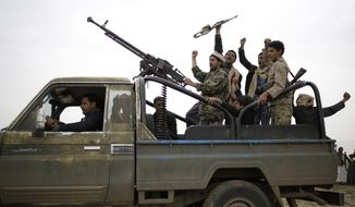 FILE - In this Aug. 1, 2019, file photo, Houthi rebels fighters chant slogans as they take off to a battlefront following a gathering aimed at mobilizing more fighters for the Houthi movement, in Sanaa, Yemen. The ongoing conflict in Yemen, which has killed tens of thousands of people and sparked a humanitarian crisis, is among the thorniest issues facing world leaders this week as they meet at the United Nations. (AP Photo/Hani Mohammed, File)