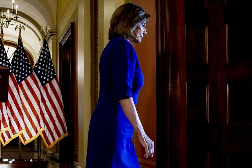 House Speaker Nancy Pelosi of Calif., steps away from a podium after reading a statement announcing a formal impeachment inquiry into President Donald Trump, on Capitol Hill in Washington, Tuesday, Sept. 24, 2019. (AP Photo/Andrew Harnik)