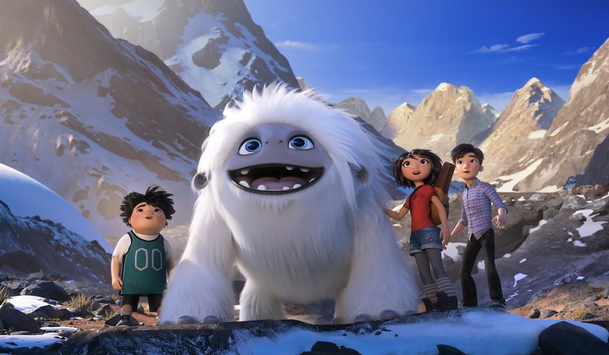 This image released by DreamWorks Animation shows characters, from left, Peng, voiced by Albert Tsai, Everest the Yeti, Yi, voiced by Chloe Bennet and Jin, voiced by Tenzing Norgay Trainor, in a scene from 'Abominable' in theaters on Sept. 27, 2019. (DreamWorks Animation LLC. via AP) **FILE**