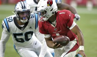 Arizona Cardinals quarterback Kyler Murray (1) is sacked by Carolina Panthers linebacker Christian Miller (50) during the second half of an NFL football game, Sunday, Sept. 22, 2019, in Glendale, Ariz. The Panthers won 38-20. (AP Photo/Ross D. Franklin)