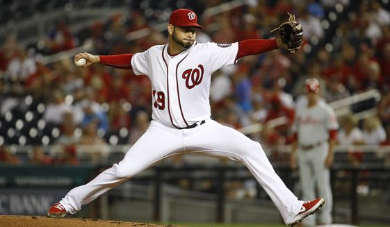 Washington Nationals starting pitcher Anibal Sanchez throws to a Philadelphia Phillies batter during the second inning of a baseball game Wednesday, Sept. 25, 2019, in Washington. (AP Photo/Patrick Semansky)