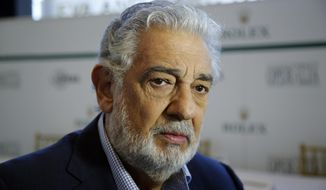 """HOLD FOR STORY FILE - In this Aug. 26, 2014, file photo, Placido Domingo speaks at the Dorothy Chandler Pavilion in Los Angeles. The cancellation Tuesday, Sept. 24, 2019, of Domingo's Metropolitan Opera performance in """"Macbeth"""" means the singer, who has been accused by multiple women of sexual misconduct, has only a few U.S. shows scheduled, all set for California in 2020. Domingo has said he strongly disputes the allegations made against him. (AP Photo/Damian Dovarganes, File)"""