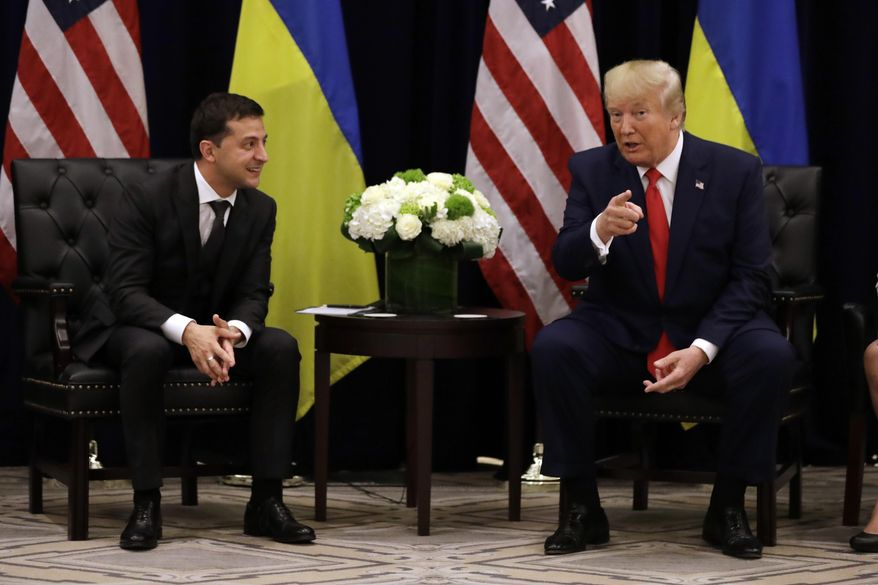 President Donald Trump meets with Ukrainian President Volodymyr Zelenskiy at the InterContinental Barclay New York hotel during the United Nations General Assembly on Sept. 25, 2019. (Associated Press) **FILE**