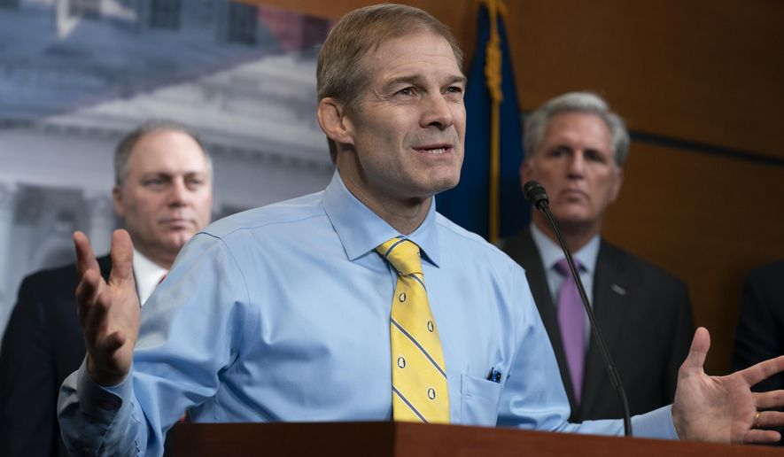 Rep. Jim Jordan, R-Ohio, a member of the House Judiciary Committee, center, flanked by Minority Whip Steve Scalise, R-La., left, and House Republican Leader Kevin McCarthy, D-Calif., criticizes House Speaker Nancy Pelosi, D-Calif., and the Democrats for launching a formal impeachment inquiry against President Donald Trump, at the Capitol in Washington, Wednesday, Sept. 25, 2019. (AP Photo/J. Scott Applewhite)